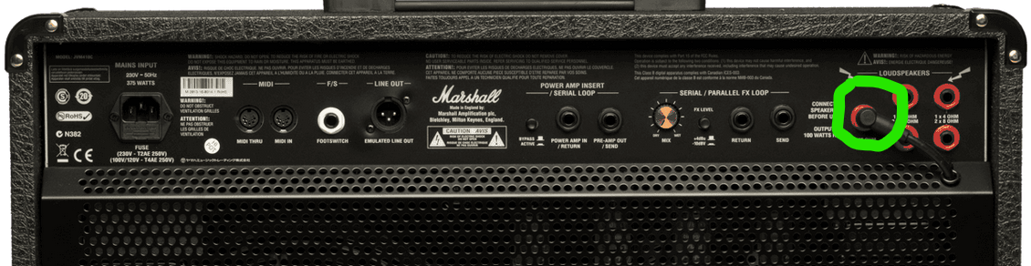 Back of Combo amp